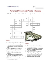 Advanced Crossword Puzzle - Banking Worksheet