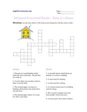 Advanced Crossword Puzzle- Parts of a House Worksheet