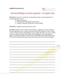 Advanced Making a Formal Argument An Apple a Day Worksheet