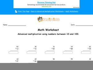 Advanced Multiplication Part 2 Worksheet