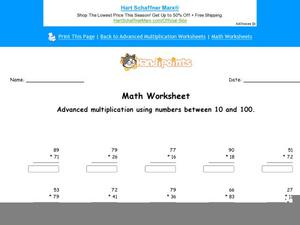 Advanced Multiplication Using Numbers 10 and 100: Part 5 Worksheet