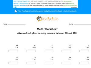 Advanced Multiplication Using Numbers Between 10 and 100 Worksheet