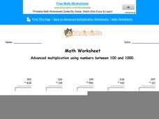 Advanced Multiplication Using Numbers Between 100 and 1000: Part 9 Worksheet