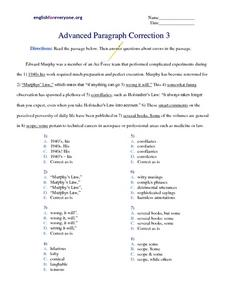 Advanced Paragraph Correction #3 Worksheet