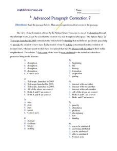 Advanced Paragraph Correction #7 Worksheet