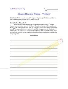 "Advanced Practical Writing - ""Problem"" Worksheet"