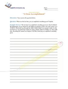 "Advanced Question Response ""A Great Accomplishment"" Worksheet"
