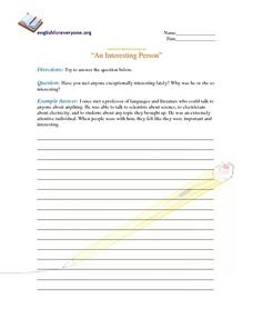 "Advanced Question Response ""An Interesting Person"" Worksheet"