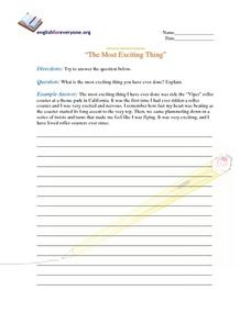 "Advanced Question Response ""The Most Exciting Thing"" Worksheet"