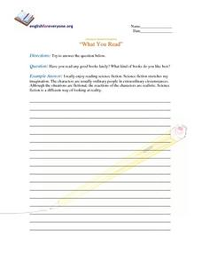 "Advanced Question Response ""What You Read"" Worksheet"
