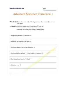 Advanced Sentence Correction 1 Worksheet