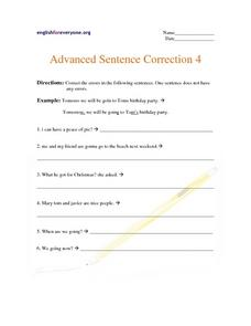 Advanced Sentence Correction 4 Worksheet
