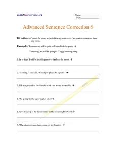 Advanced Sentence Correction 6 Worksheet