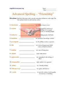 Advanced Spelling: Friendship Worksheet