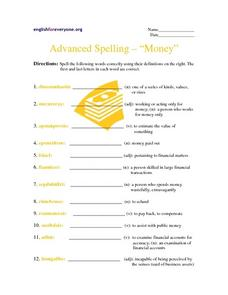 "Advanced Spelling-- ""Money"" Worksheet"