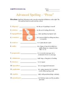 "Advanced Spelling- ""Prose"" Worksheet"