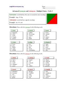 Advanced Synonyms and Antonyms- Multiple Choice Verbs 5 Lesson Plan
