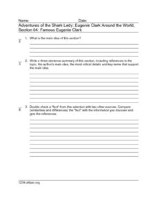 Adventures of the Shark Lady: Eugenie Clark Around the World, Section 04: Famous Eugenie Clark Worksheet
