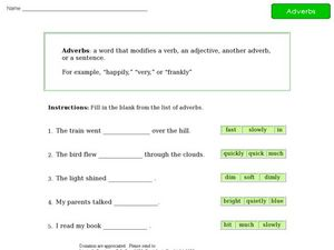 Adverbs - Sentence Completion Worksheet
