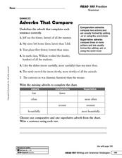 Adverbs That Compare Worksheet