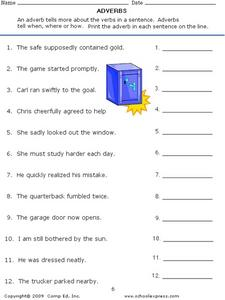 Adverbs: What are They? Identifying Them in Sentences Worksheet