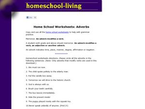 Adverbs Worksheet Worksheet