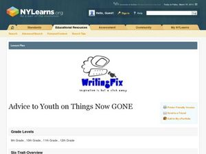 Advice to Youth on Things Now Gone Lesson Plan