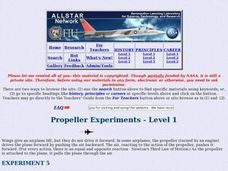 Aeronautics - Propeller experiments - Experiment 5 - Level 1 Lesson Plan