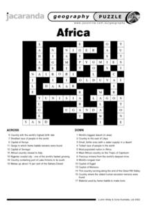 Africa in Crossword Worksheet