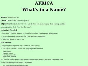 Africa: What's in a Name? Lesson Plan
