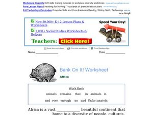 Africa: Word Bank Fill-In Activity Worksheet