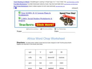 Africa Word Chop Worksheet Worksheet