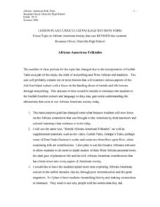 African-American Folk Tales Lesson Plan