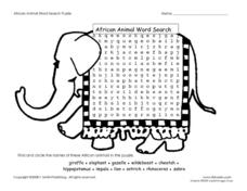 African Animal Word Search Puzzle Worksheet