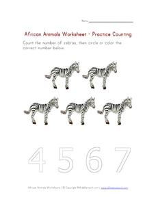 African Animals - Practice Counting Worksheet