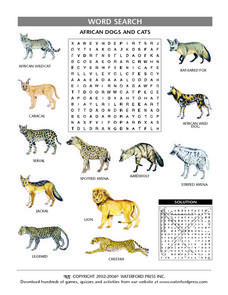 African Dogs and Cats Word Search Lesson Plan