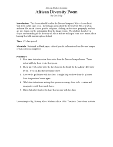 African Studies Lessons African Diversity Poem Lesson Plan
