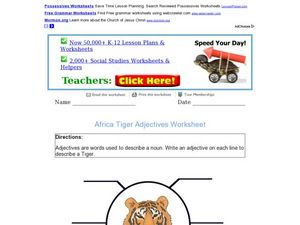 African Tiger: Adjective Activity Worksheet