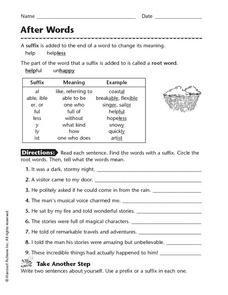 After Words Worksheet