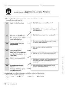 Aggressors Invade Nations Worksheet