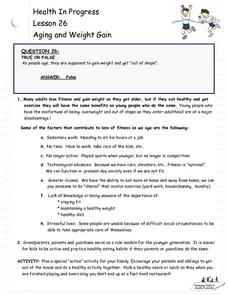 Aging and Weight Gain Lesson Plan