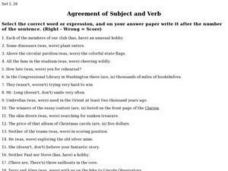 Agreement of Subject and Verb Worksheet