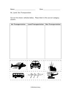 Air, Land, Sea Transportation Worksheet