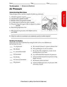 Air Pressure Worksheet
