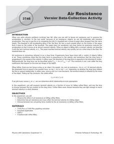 Air Resistance:  Vernier Data-Collection Activity Lesson Plan