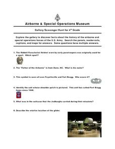 Airborne And Special Operations Museum Gallery Scavenger Hunt for Grade 4 Worksheet