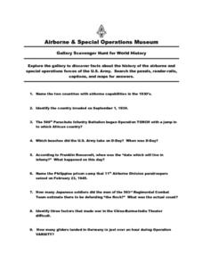 Airborne and Special Operations Museum Scavenger Hunt Worksheet