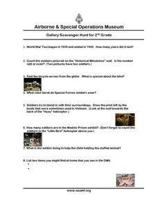Airborne & Special Operations Museum Gallery Scavenger Hunt for 2nd Grade Worksheet