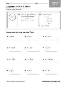 Algebera: Area of a Circle - Reteach 20.7 Worksheet