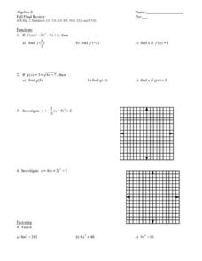 Algebra 2: Fall Final Review Worksheet